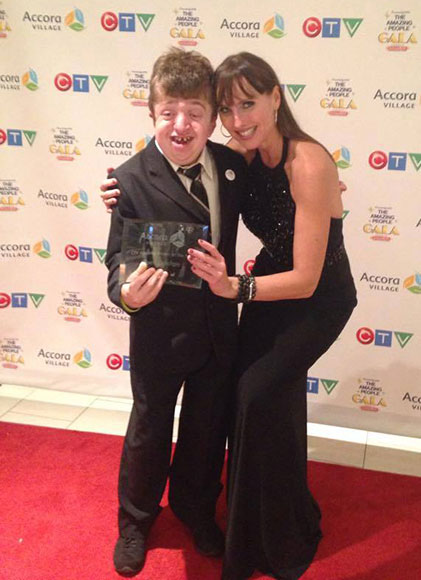 Tysen Lefebvre with CTV's Leanne Cusack Photo via Linda Lefebvre.