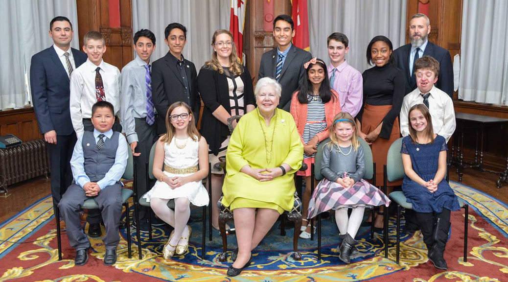 Stittsville's Tysen Lefebvre travelled to Toronto this week to accept a 2015 Ontario Junior Citizen Award. The 15-year-old was one of twelve Ontario youth to receive the honour, presented by Ontario's Lieutenant Governor Elizabeth Dowdeswell.
