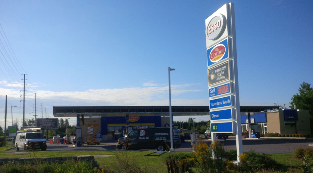August 26, 2015 - gas station at Palladium and Huntmar goes from an Ultramar to an Esso