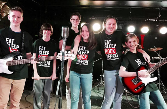 The U-Rock teen band The Crushers. From left to right: Brodie Paton, 15, Kyler Villeneuve, 12, Bradley Johnstone, 17, Jasmine Beavis, 14, Samantha Clarke, 15 and Catherine Hnatiw, 13.