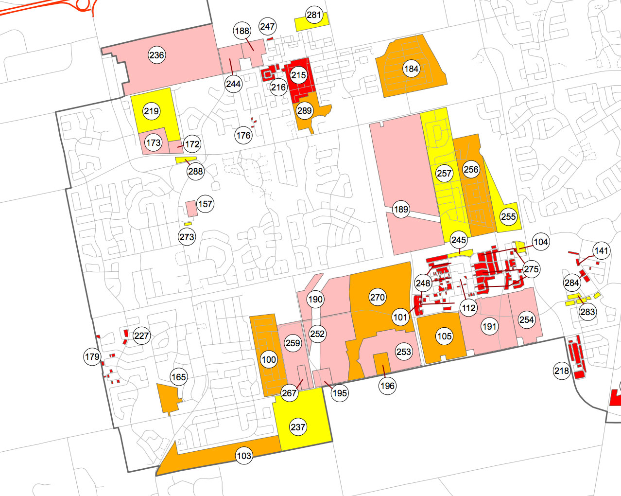 Map showing vacant residential land in Kanata and Stittsville