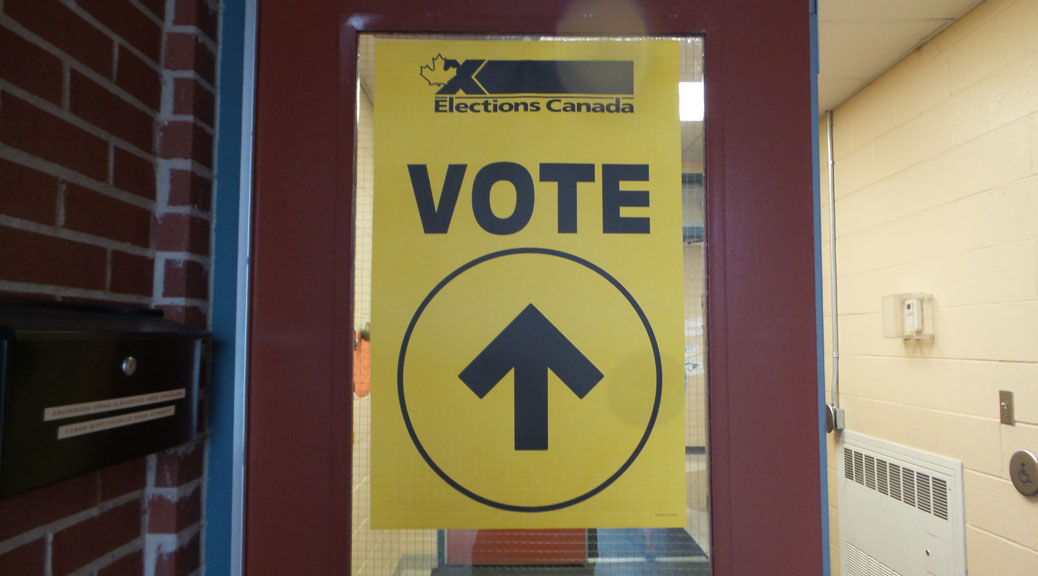 "2015 election signage ""VOTE"" at St. Stephen school"