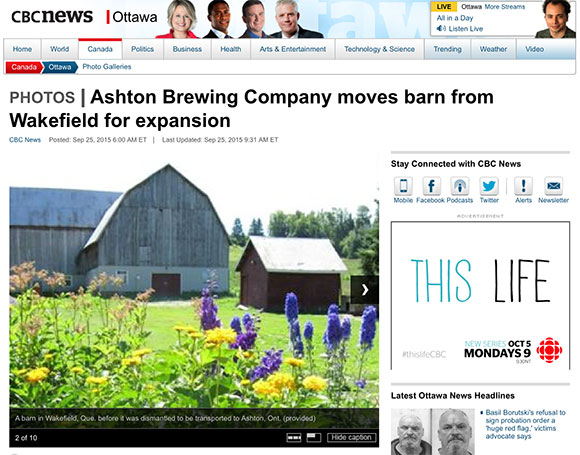 CBC screen shot: Ashton Brewing Company moves barn from Wakefield for expansion