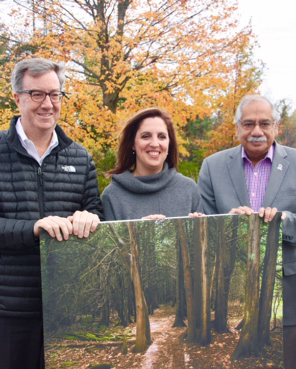Mayor Jim Watson, Sabrina Kemp, and Stittsville Councillor Shad Qadri at Tuesday's announcement. Photos by Frank Cianciullo.