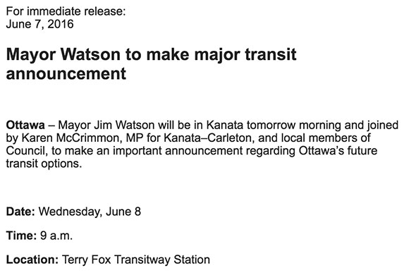 Media advisory sent from the City of Ottawa on Tuesday afternoon. Mayro Watson and MP Karen McCrimon will make an announcement about transit on Wednesday.
