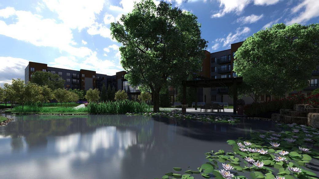 Artist rendering of the artificial pond to be built on site.