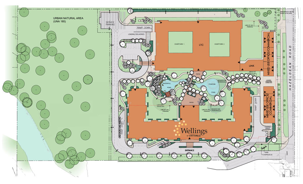 The site plan includes a large park adjacent to Poole Creek, and ponds and landscaping between the two main buildings. The pathway behind Coriolis Court - currently at a dead end - would connect Fairwinds to the park.