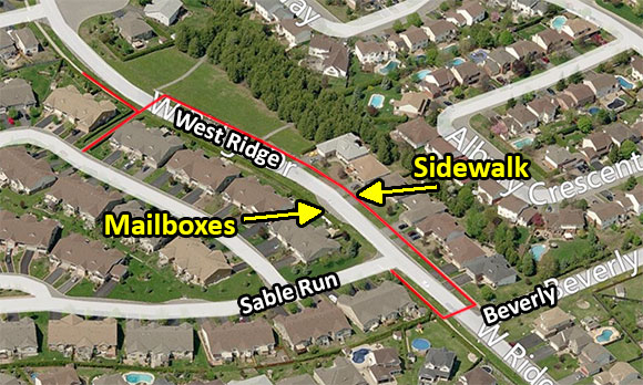 Map of West Ridge near Sable Run