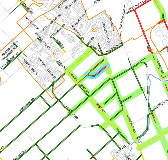 Part of a map showing wild parsnip problem areas and measures planned to reduce the plant. Herbicide will be used in the areas highlighted in light green.