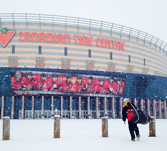 Walking into Canadian Tire Centre for the big game.