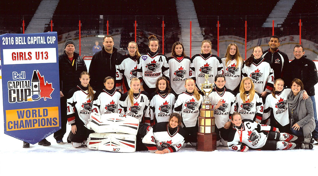 Nepean Wildcats Peewee AA Champions. Front: Cameron Thomas and Hillary Sterling Second Row - Aislyn Blakely, Emma Eryou, Ellie Brown, Gabi Curkovic, Ashley Monds, Caroline Alexander, Elle Spencer, Jamie Aspropotamitis, Dawn Carle (trainer) Back Row - Jamie Monds (asst coach), Eliot Spencer (head coach), Meg Redmond, Delaney Johnston, Amy Hradecky, Mackenzie Audet, Jackie Kuhn, Peyton Carle, Justin Thomas (asst coach) and Ian Sterling (asst coach)