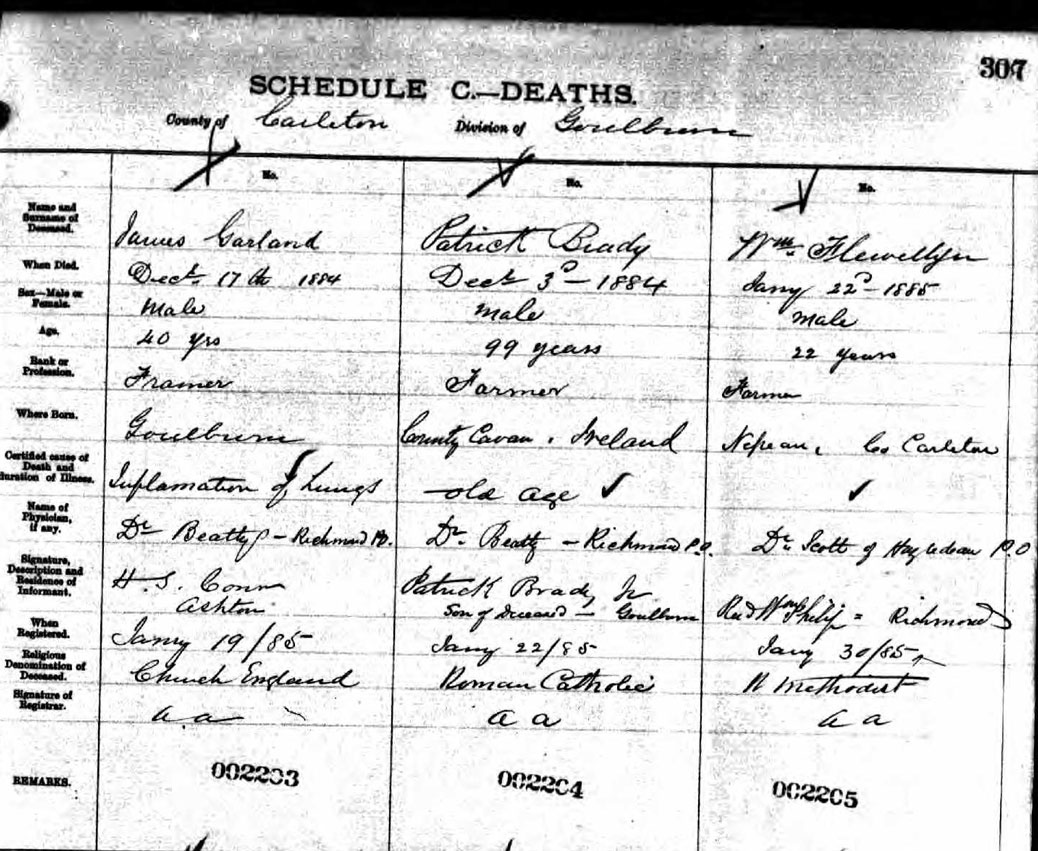 William Flewellyn's death registry. His causer of death isn't listed. Interestingly, his place of birth is listed as Nepean Township. Did the young Flewellyn family live there for a time before moving to their land in Goulbourn? Nepean Township extended all the way to Eagleson Road, so it wouldn't have been far away.