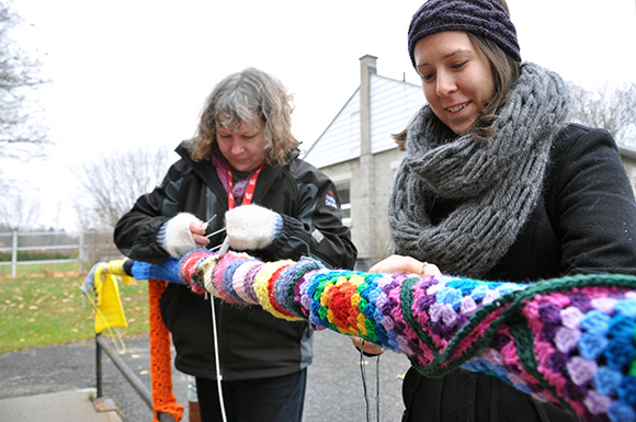 Yarn bombing at the Goulbourn Museum