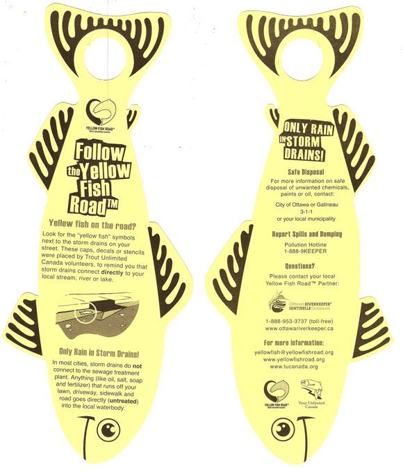 Yellow fish door hanger